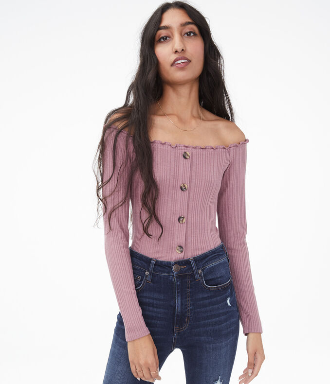 Long Sleeve Seriously Soft Buttoned Off-The-Shoulder Bodycon Top