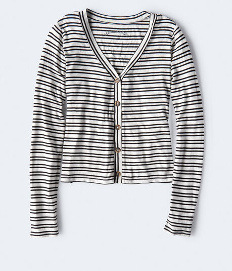 Long Sleeve Seriously Soft Striped Button-Front Top***