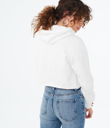 Polaroid Cropped Pullover Hoodie