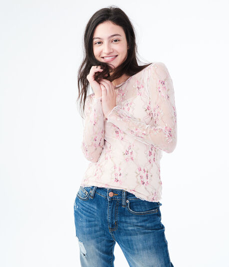 Long Sleeve Embroidered Mesh Top