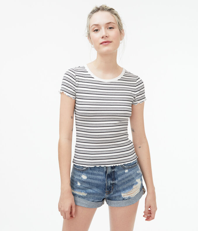 Striped Ribbed Shrunken Tee
