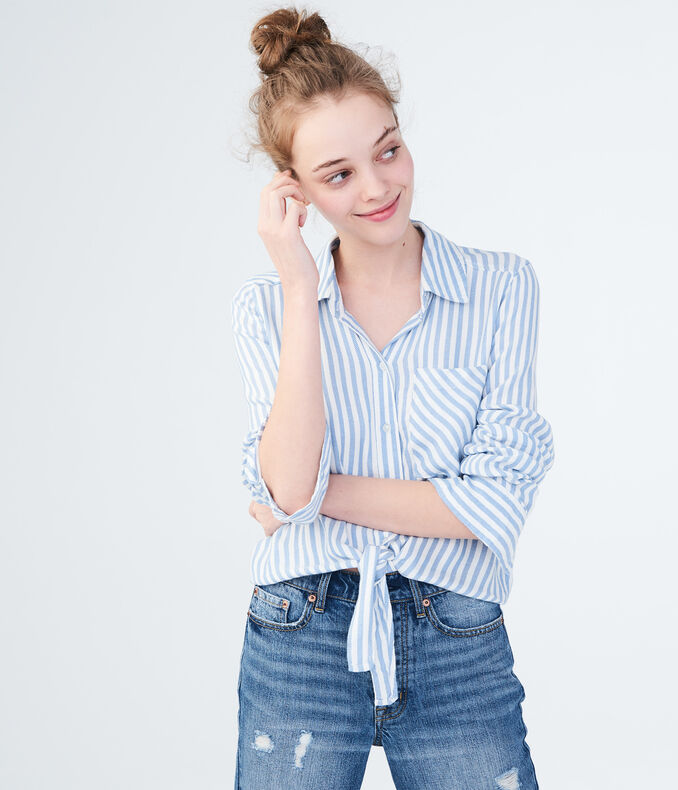 Long Sleeve Striped Tie-Front Woven Shirt