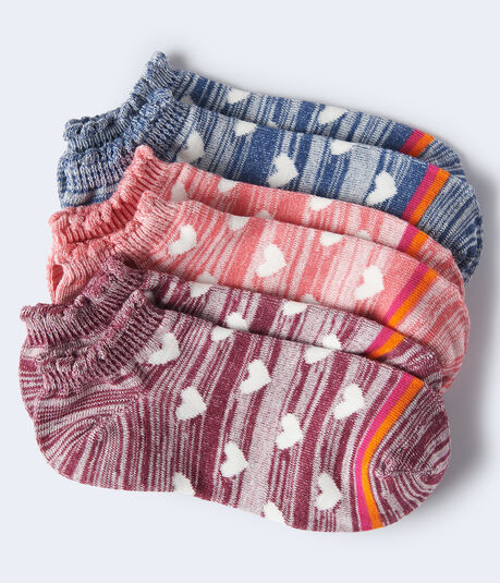 Space-Dye Hearts Ankle Sock 3-Pack