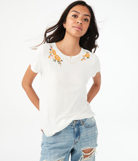 Embroidered Flower Crew Tee