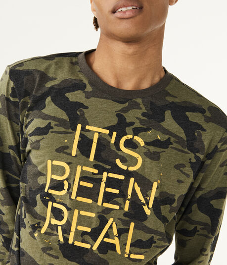 Long Sleeve It's Been Real Camo Graphic Tee