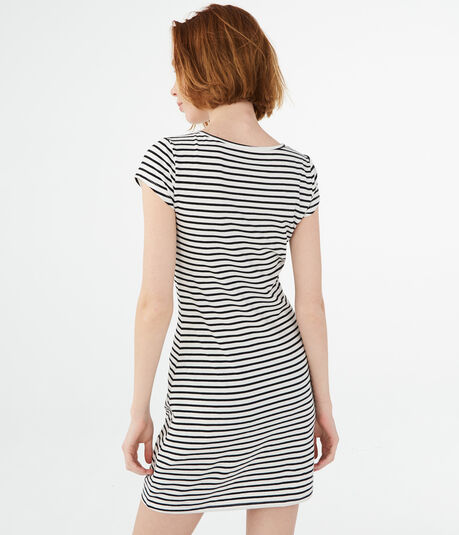 Striped Lace Up A-Line Dress