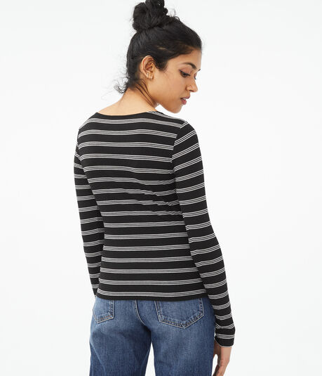 Long Sleeve Seriously Soft Striped Zip-Front Bodycon Top