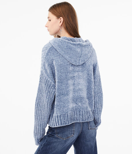 Chenille Hooded Cropped Sweater
