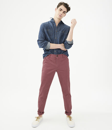 Solid Slim Straight Stretch Chinos