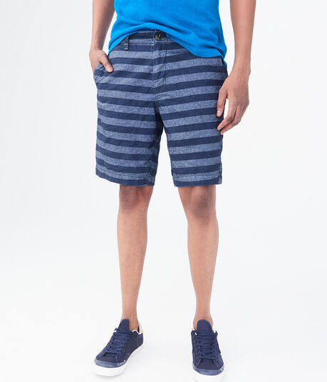 Chambray Stripe Flat-Front Chino Shorts