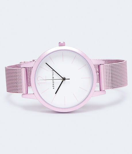 Round Brushed Metal Analog Watch