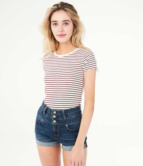 Seriously Stretchy Super High-Rise Triple-Button Denim Midi Shorts