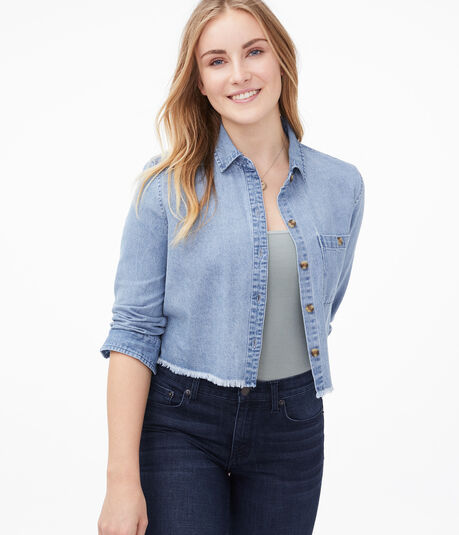Long Sleeve Chambray Cropped Button-Down Shirt