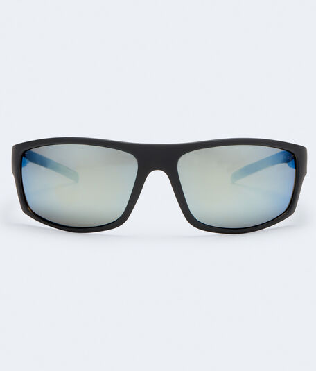 Mirrored Matte Wrap Sunglasses***