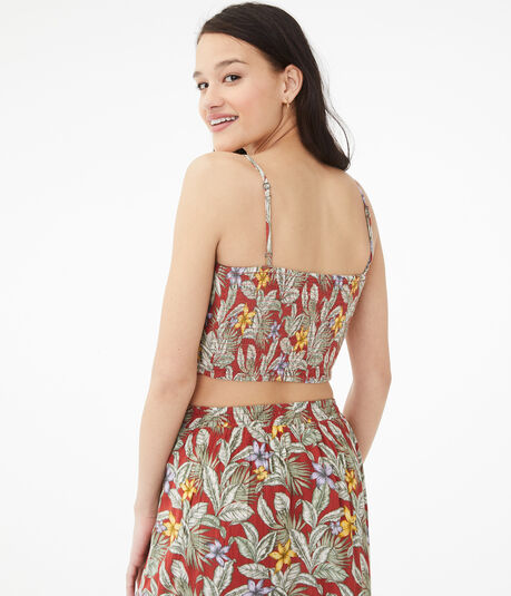Tropical Button-Front Crop Top