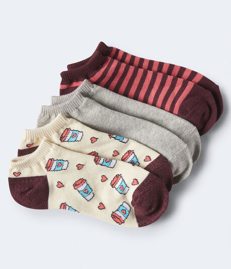 3-Pack Coffee, Stripe & Solid Ankle Socks***