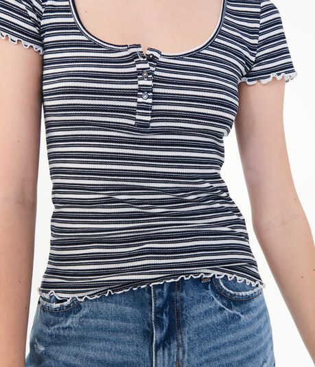 LLD Striped Henley Tee