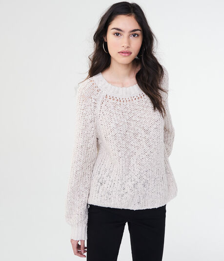 Solid Open-Knit Crew Sweater