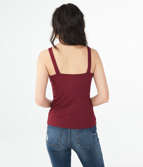 Solid Ribbed Lace-Up Tie Tank