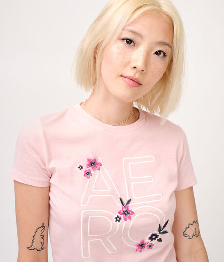 Embroidered Aero Floral Graphic Tee