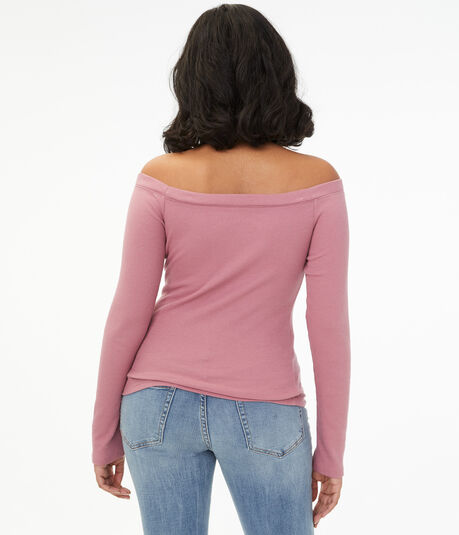 Long Sleeve Seriously Soft Off-The-Shoulder Henley Bodycon Top