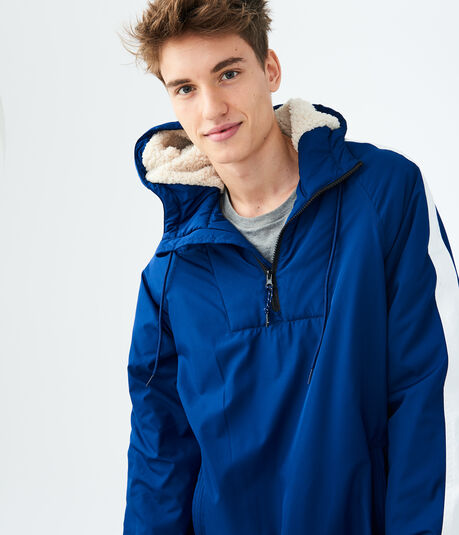 Striped Hooded Pullover Anorak Jacket