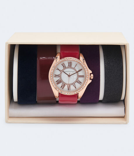 Faux Leather Pearlized Watch & Strap Set