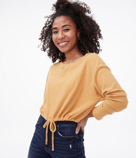 Long Sleeve Seriously Soft Cinched Crew Crop Top