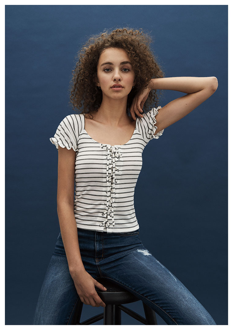 Girls Lace-up Bodycon Tee