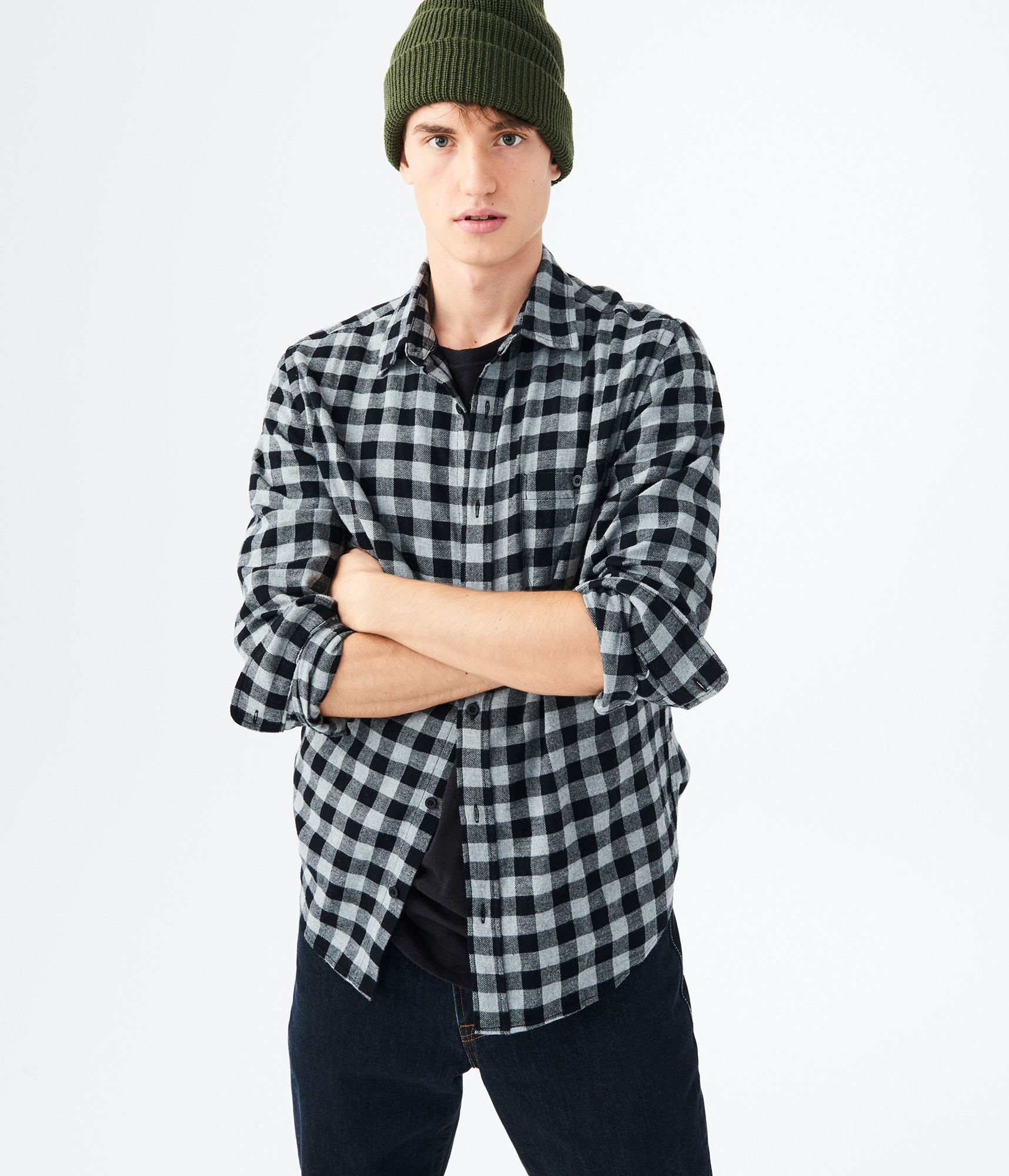 Aeropostale Mens Long Sleeve Buffalo Plaid Flannel Woven