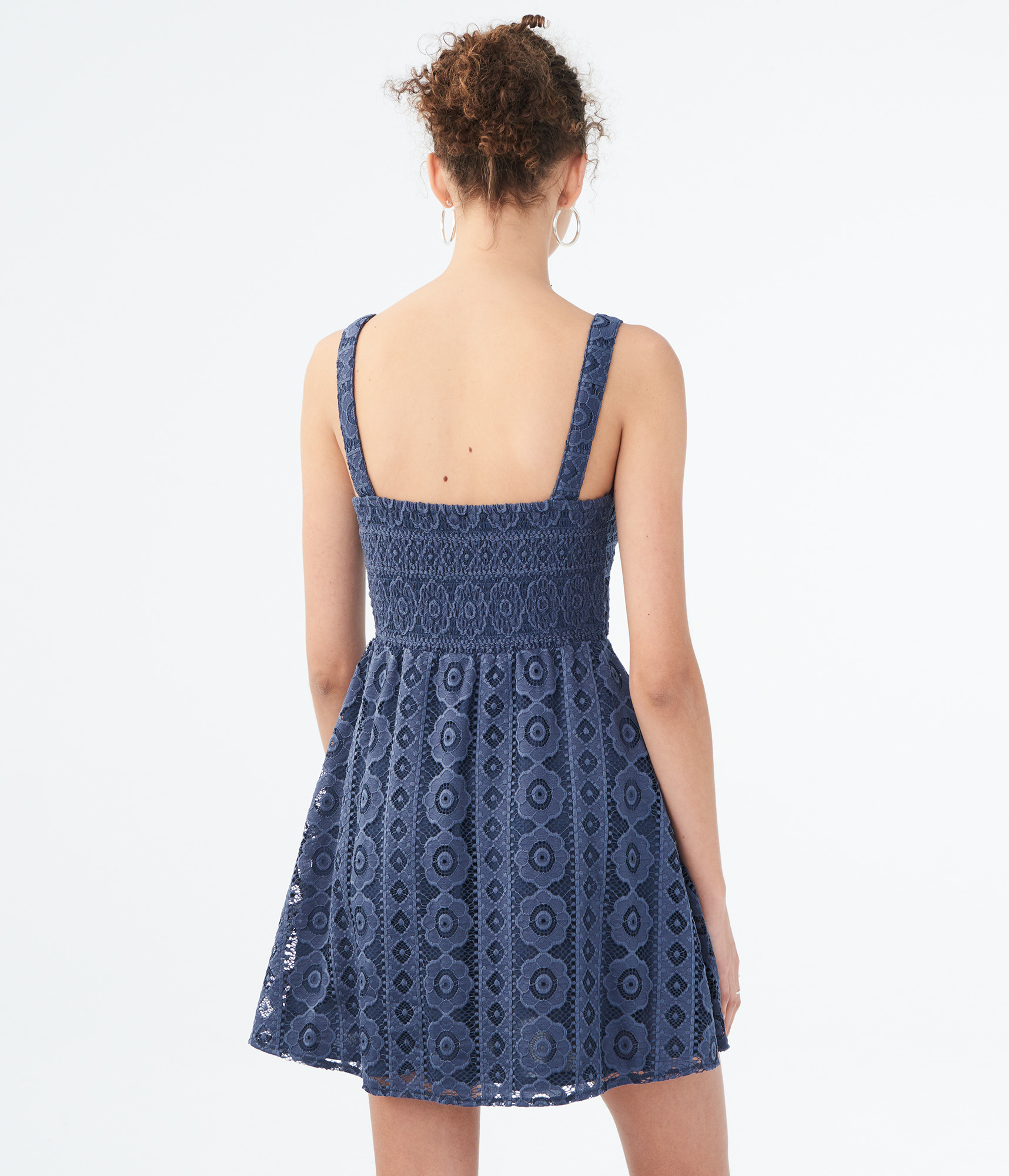 aeropostale-womens-solid-square-neck-lace-corset-fit-amp-flare-dress thumbnail 14