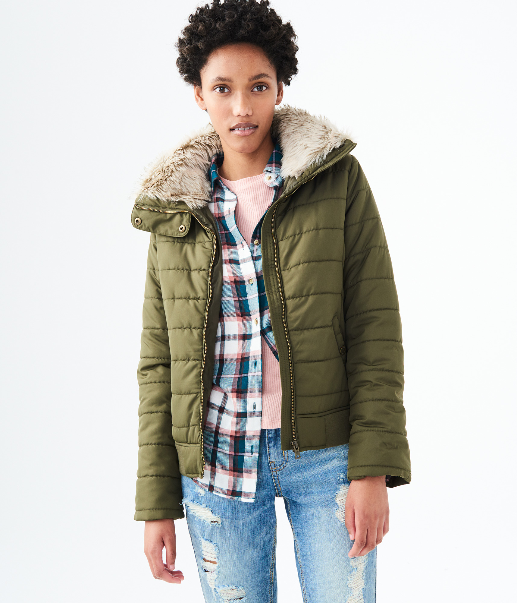Aeropostale Womens Solid Hooded Puffer Jacket Ebay