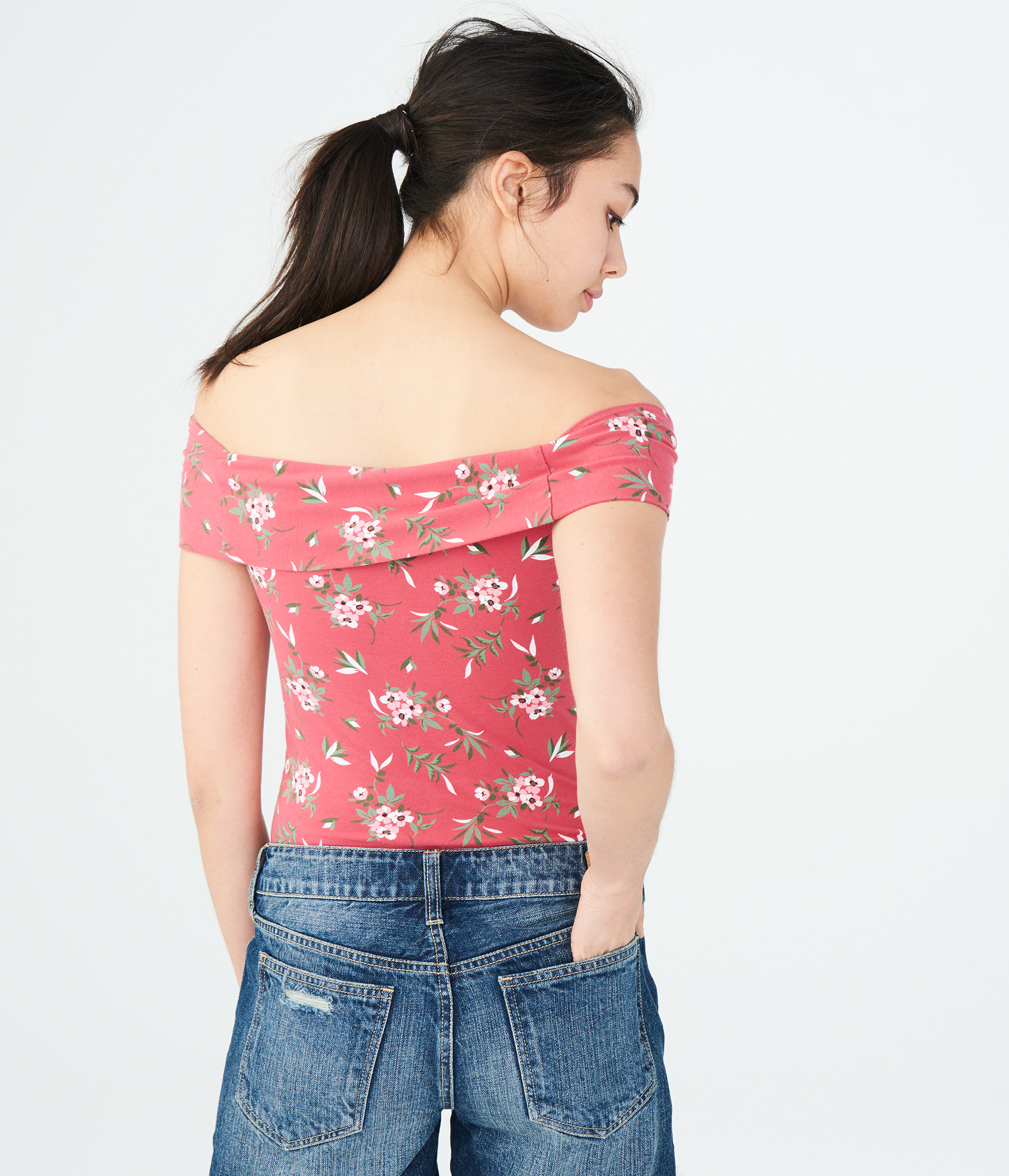 aeropostale womens floral off-the-shoulder top  7b9ad94fd0