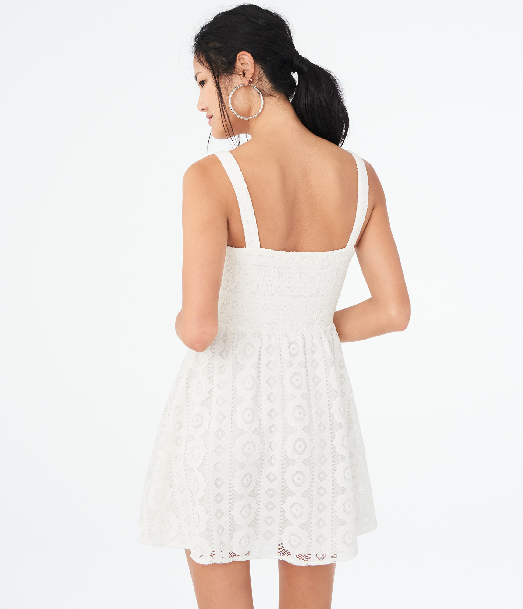 aeropostale-womens-solid-square-neck-lace-corset-fit-amp-flare-dress thumbnail 10