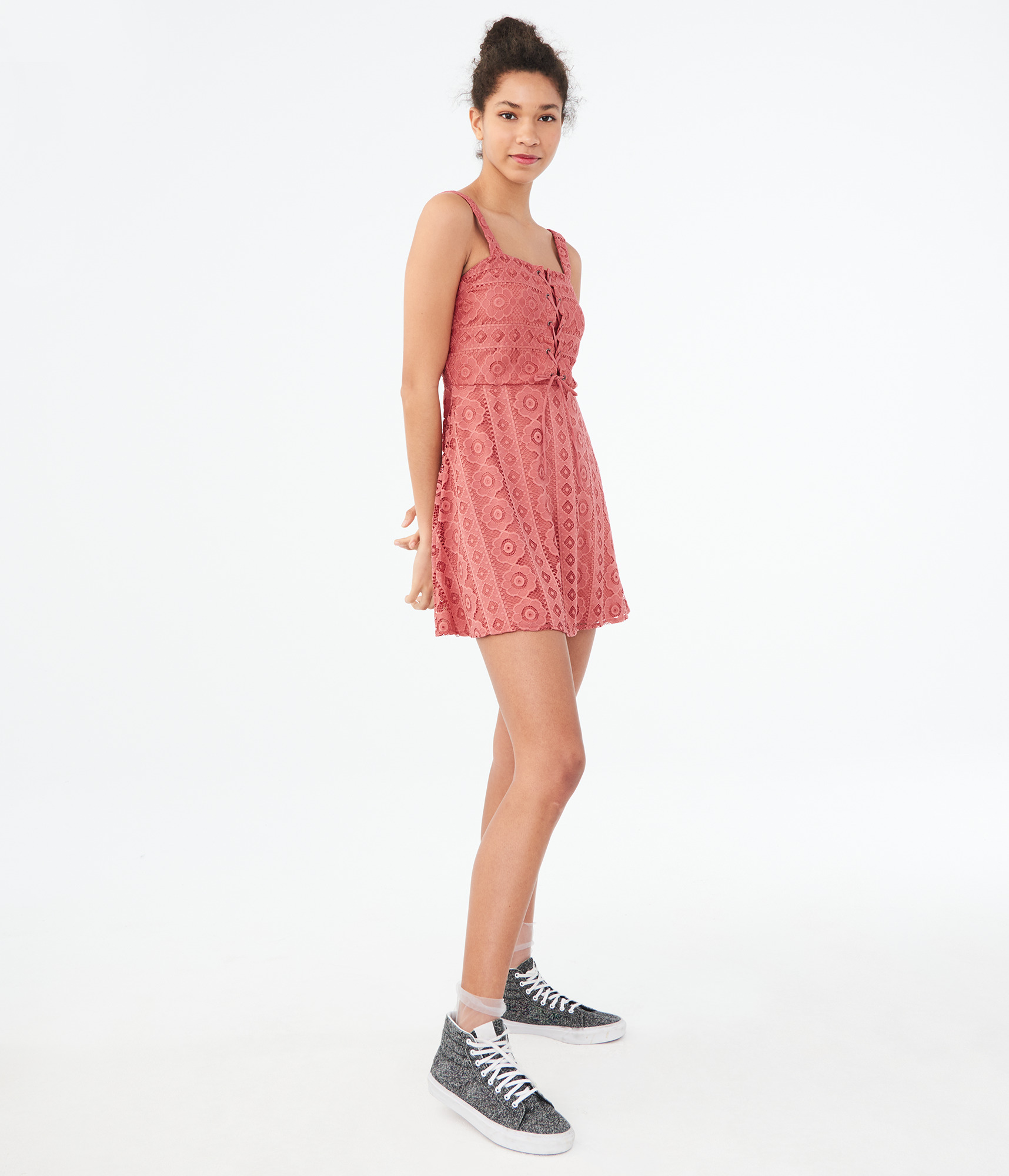 aeropostale-womens-solid-square-neck-lace-corset-fit-amp-flare-dress thumbnail 5