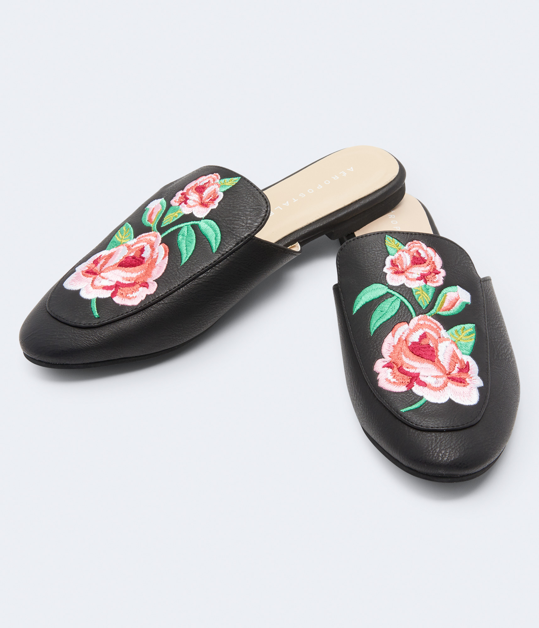 Embroidered Faux Leather Mule