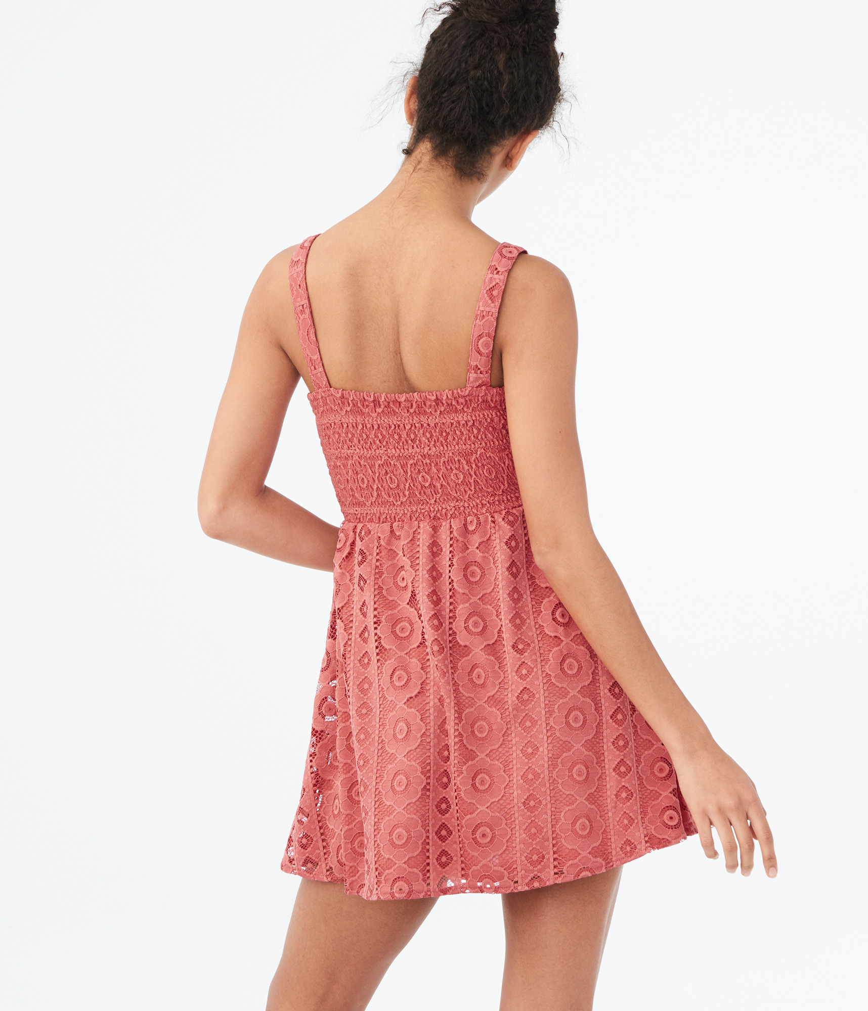 aeropostale-womens-solid-square-neck-lace-corset-fit-amp-flare-dress thumbnail 7