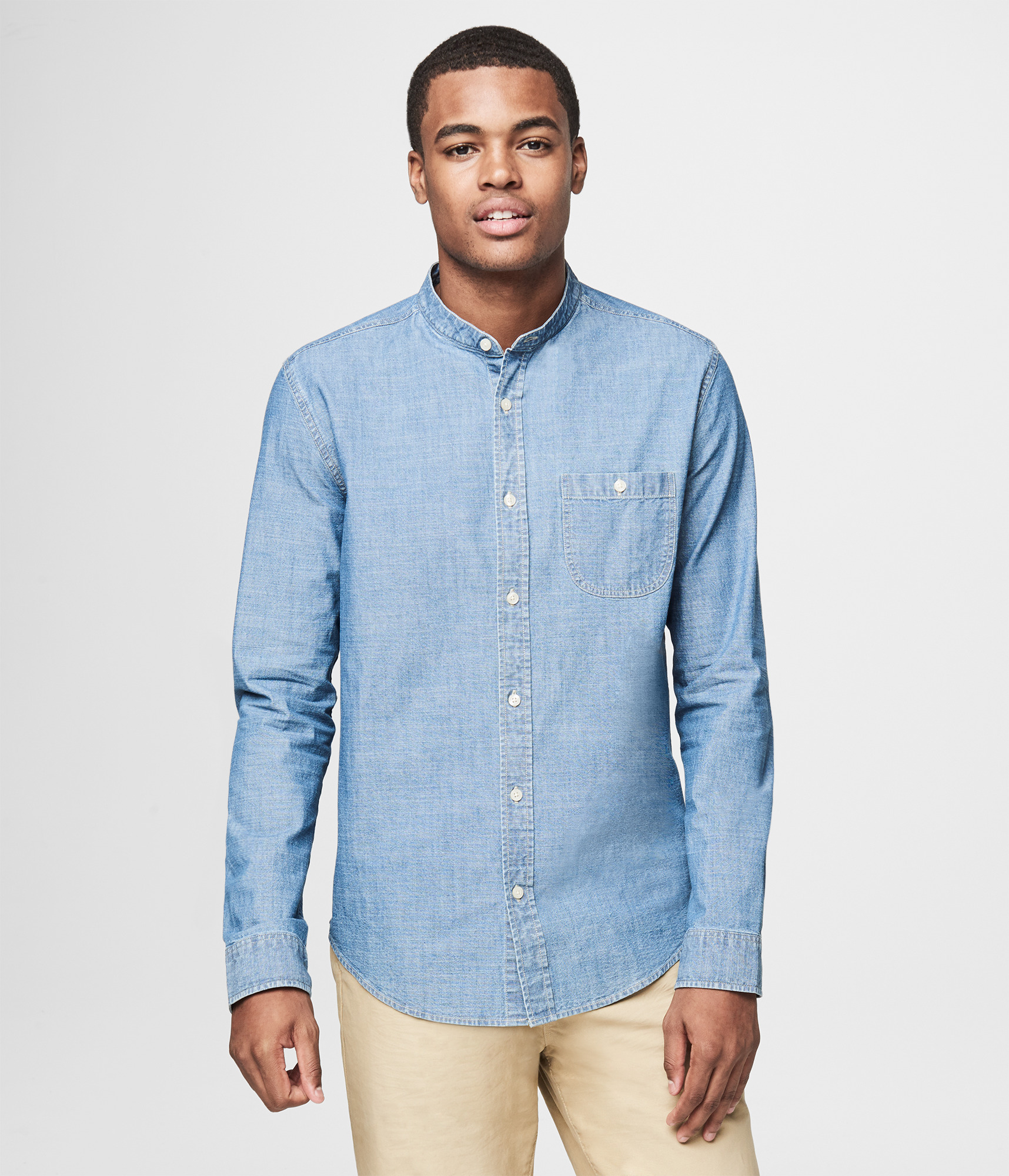 Banded Collar Shirt Button Down Shirts Aeropostale