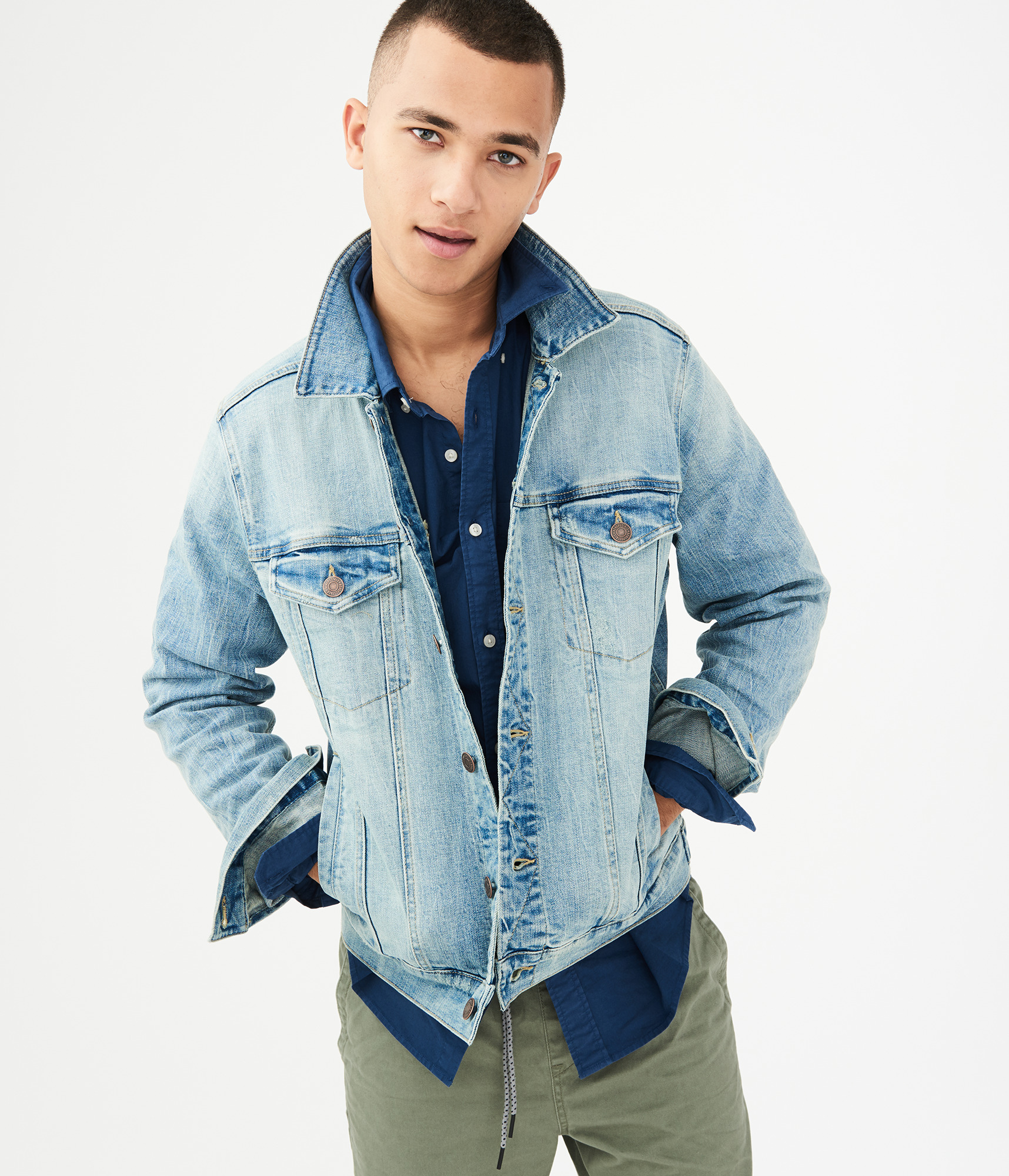 Aeropostale Mens Light Wash Stretch Denim Jacket Ebay