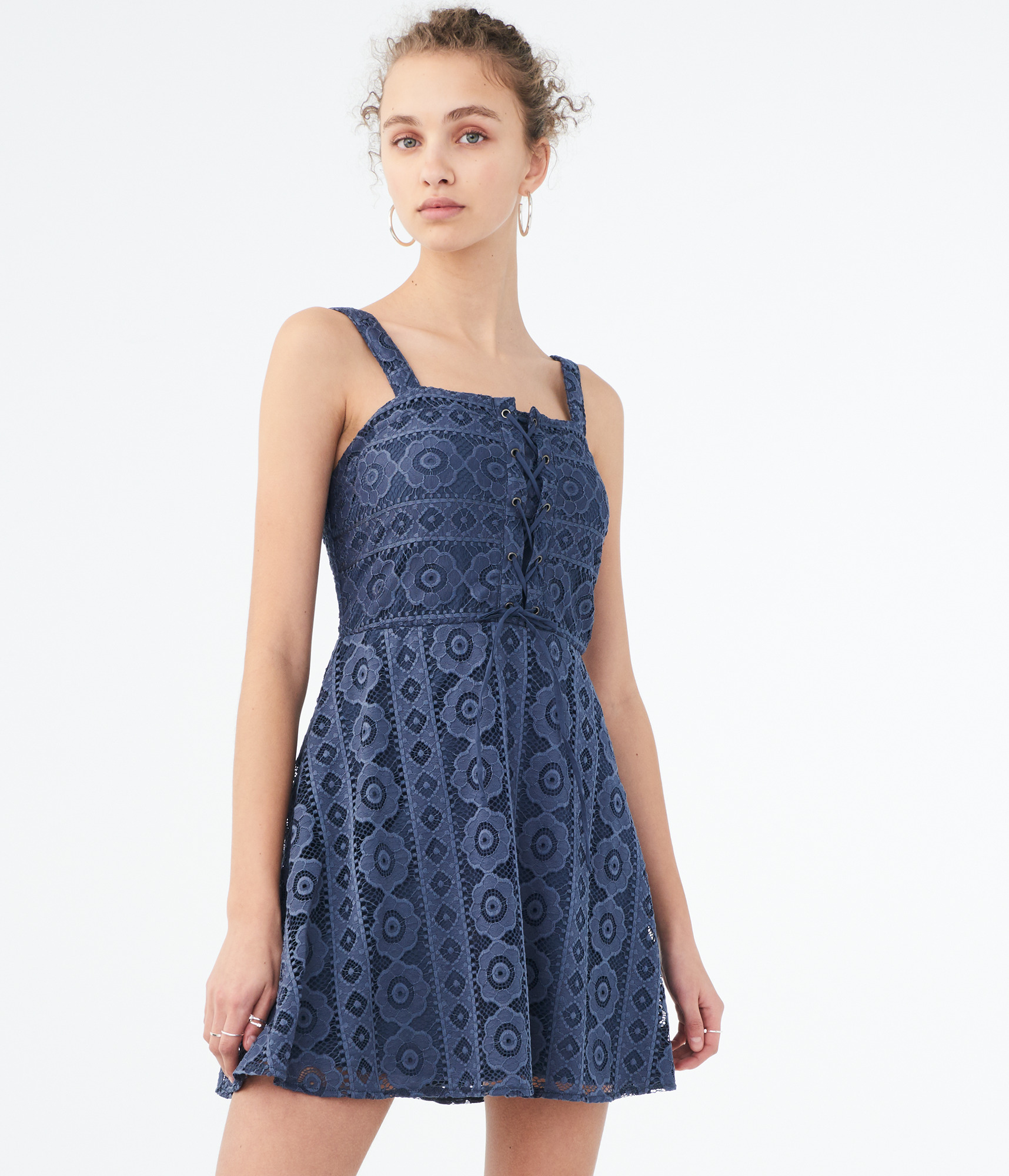 aeropostale-womens-solid-square-neck-lace-corset-fit-amp-flare-dress thumbnail 12