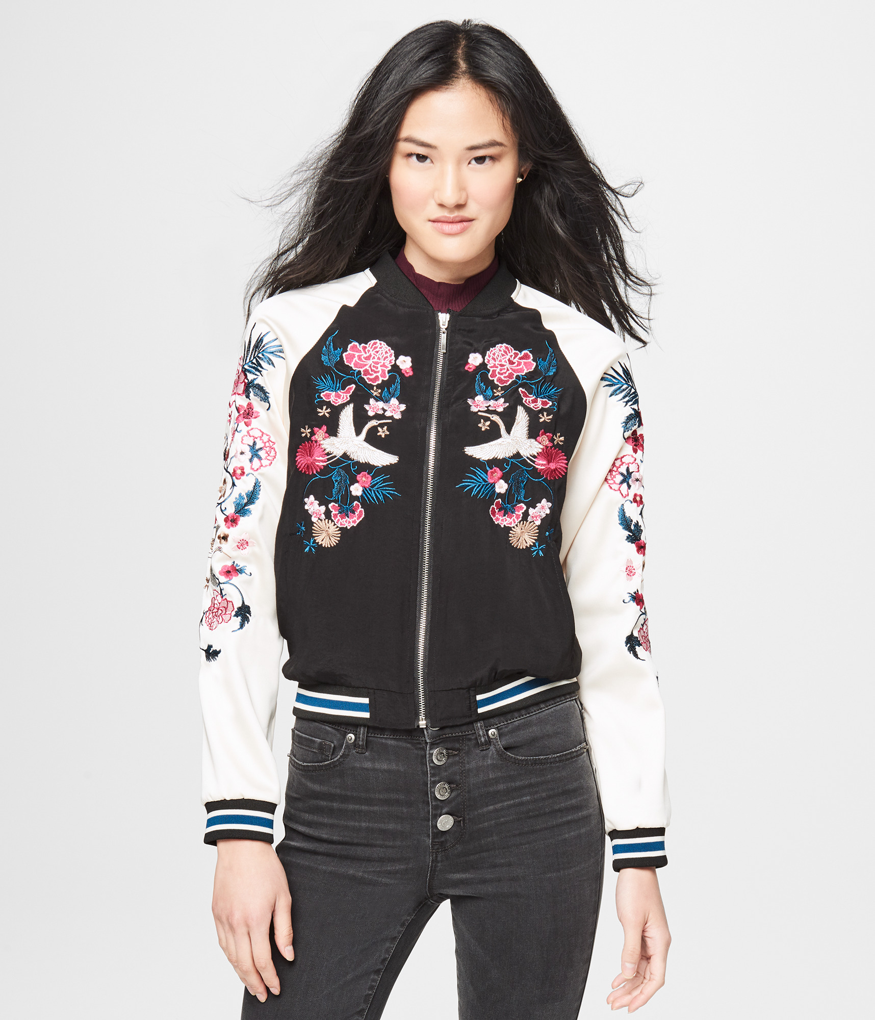 0.630kg CALL IT SPRING Flower Embroidery Bomber Jacket [Cotton,Polyester] #  Green Women's Clothing - Tops 0X69175338