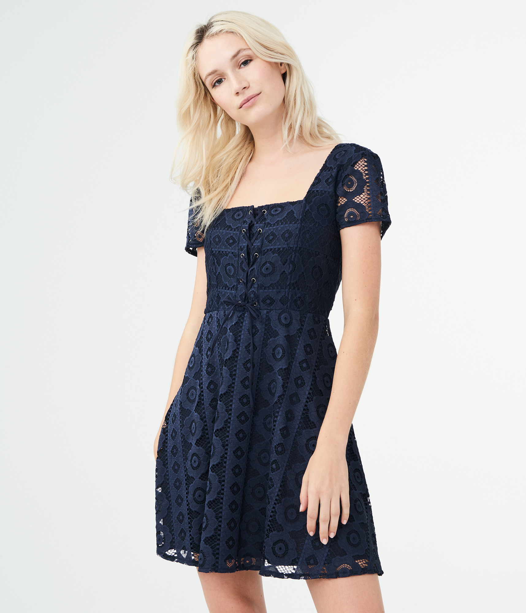 51921173f9 Details about aeropostale womens solid square-neck lace corset fit & flare  dress